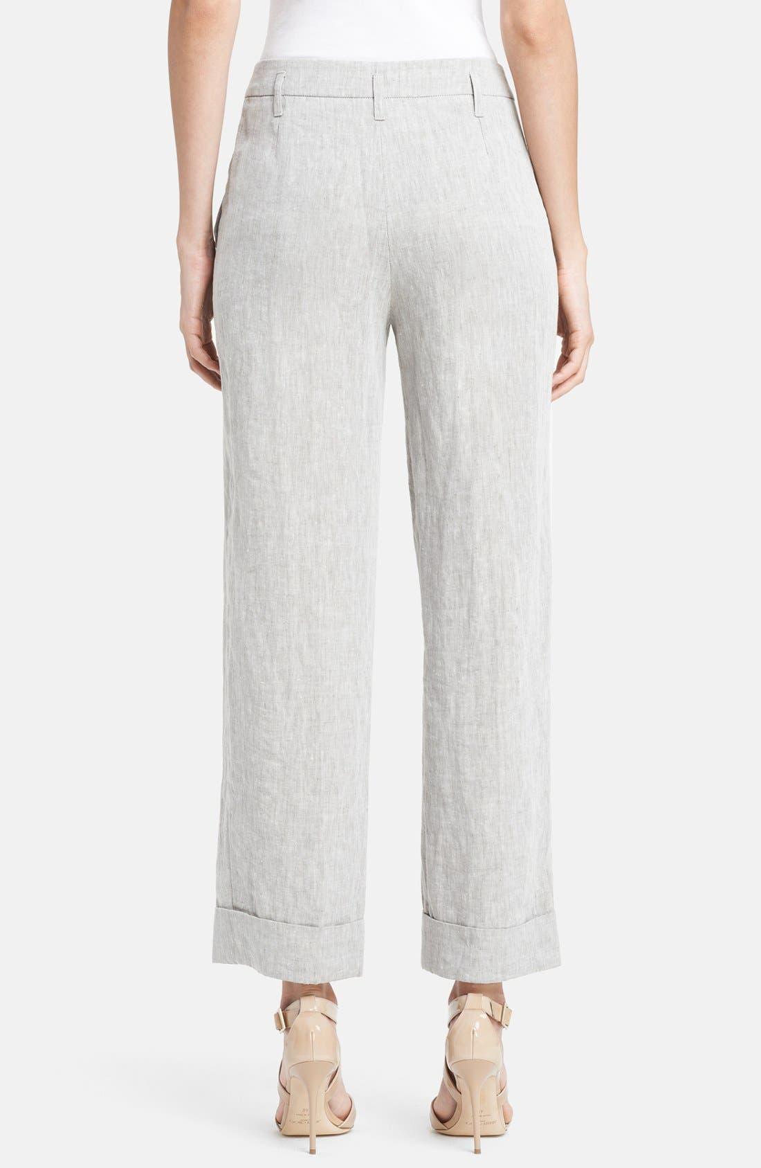 Alternate Image 2  - Armani Collezioni Wide Crop Linen Pants