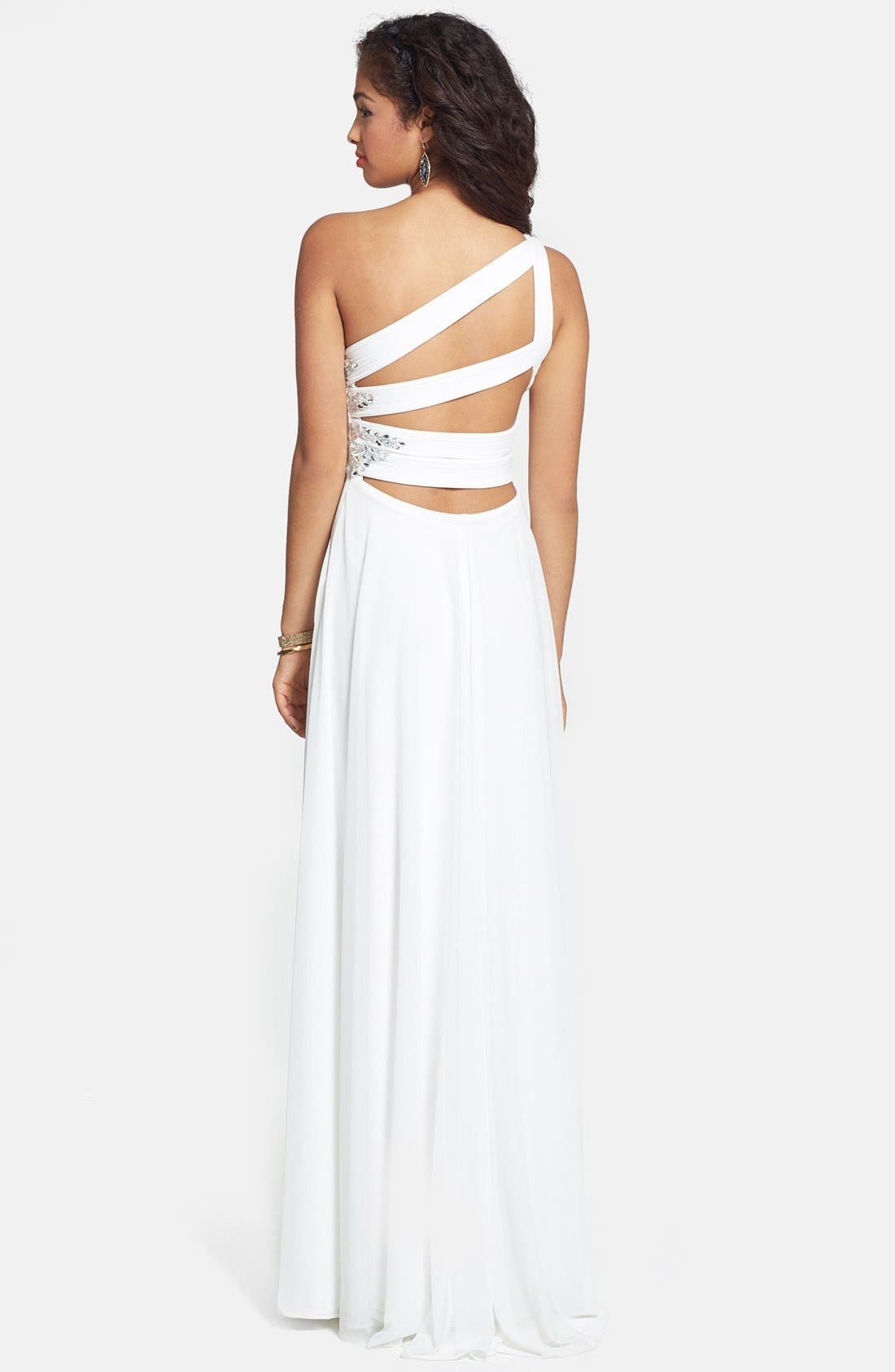 Alternate Image 2  - Xscape Embellished One Shoulder Jersey Gown