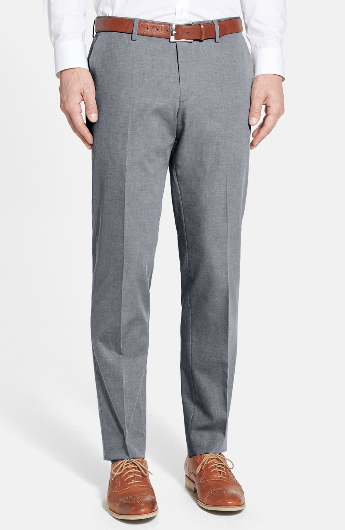 Alternate Image 1 Selected - BOSS HUGO BOSS 'Genesis' Flat Front Cotton Trousers