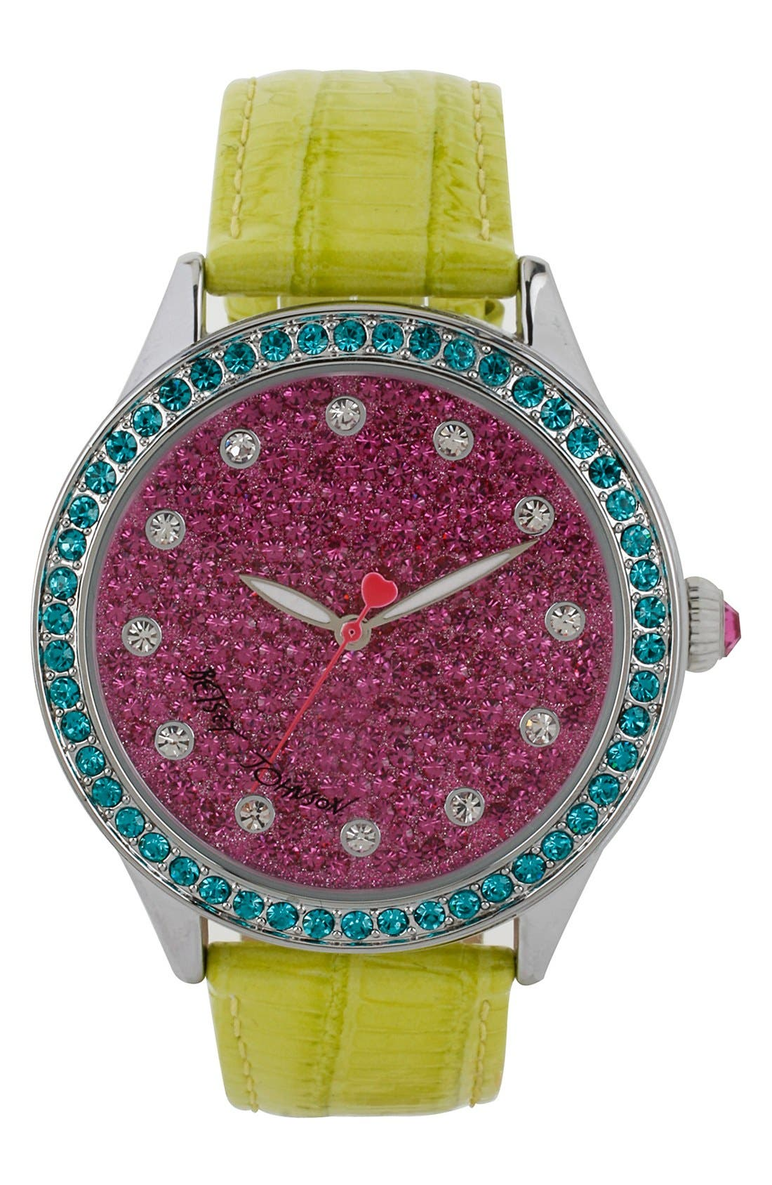 Main Image - Betsey Johnson Pavé Dial Round Leather Strap Watch, 42mm