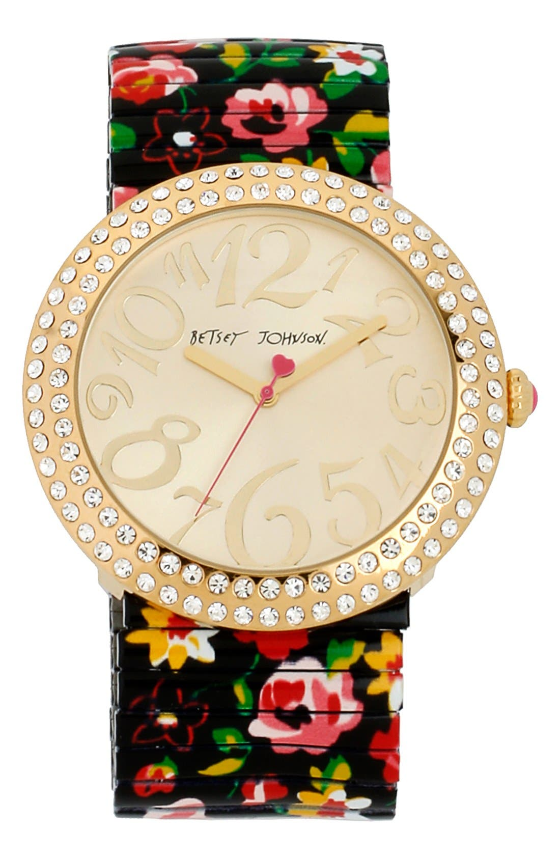 Alternate Image 1 Selected - Betsey Johnson Round Floral Expansion Watch, 48mm