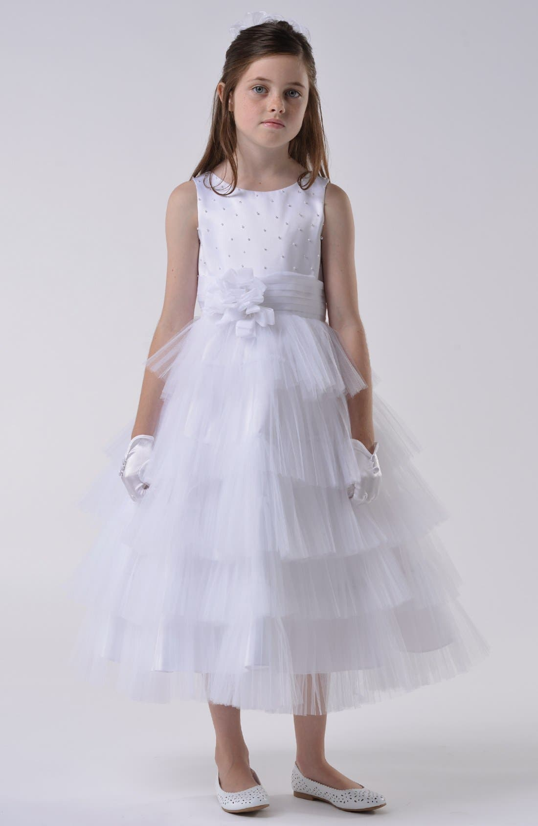 Alternate Image 1 Selected - Us Angels Communion Dress (Little Girls & Big Girls)