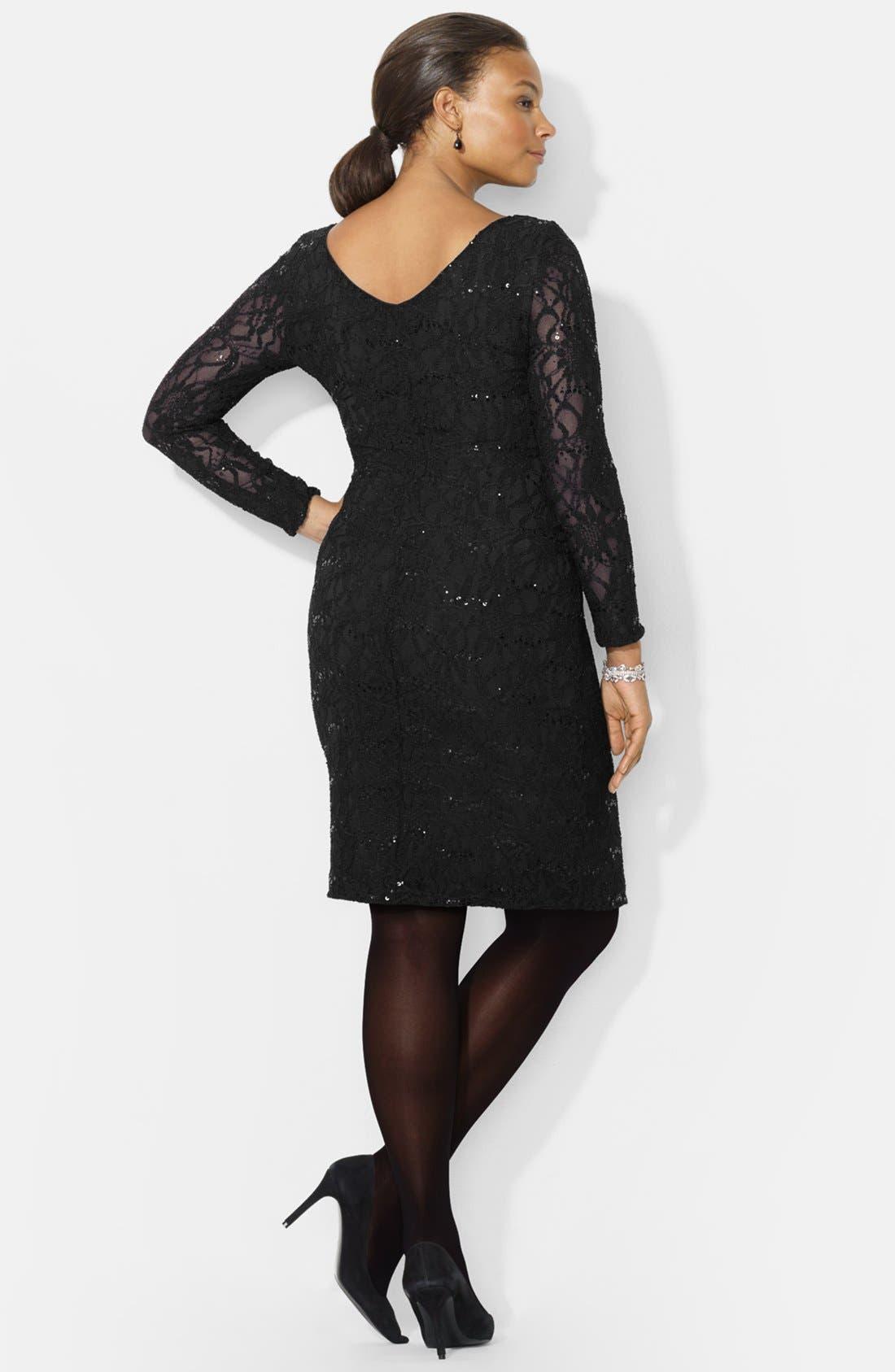 Alternate Image 2  - Lauren Ralph Lauren Sequin Lace Sheath Dress (Plus Size)