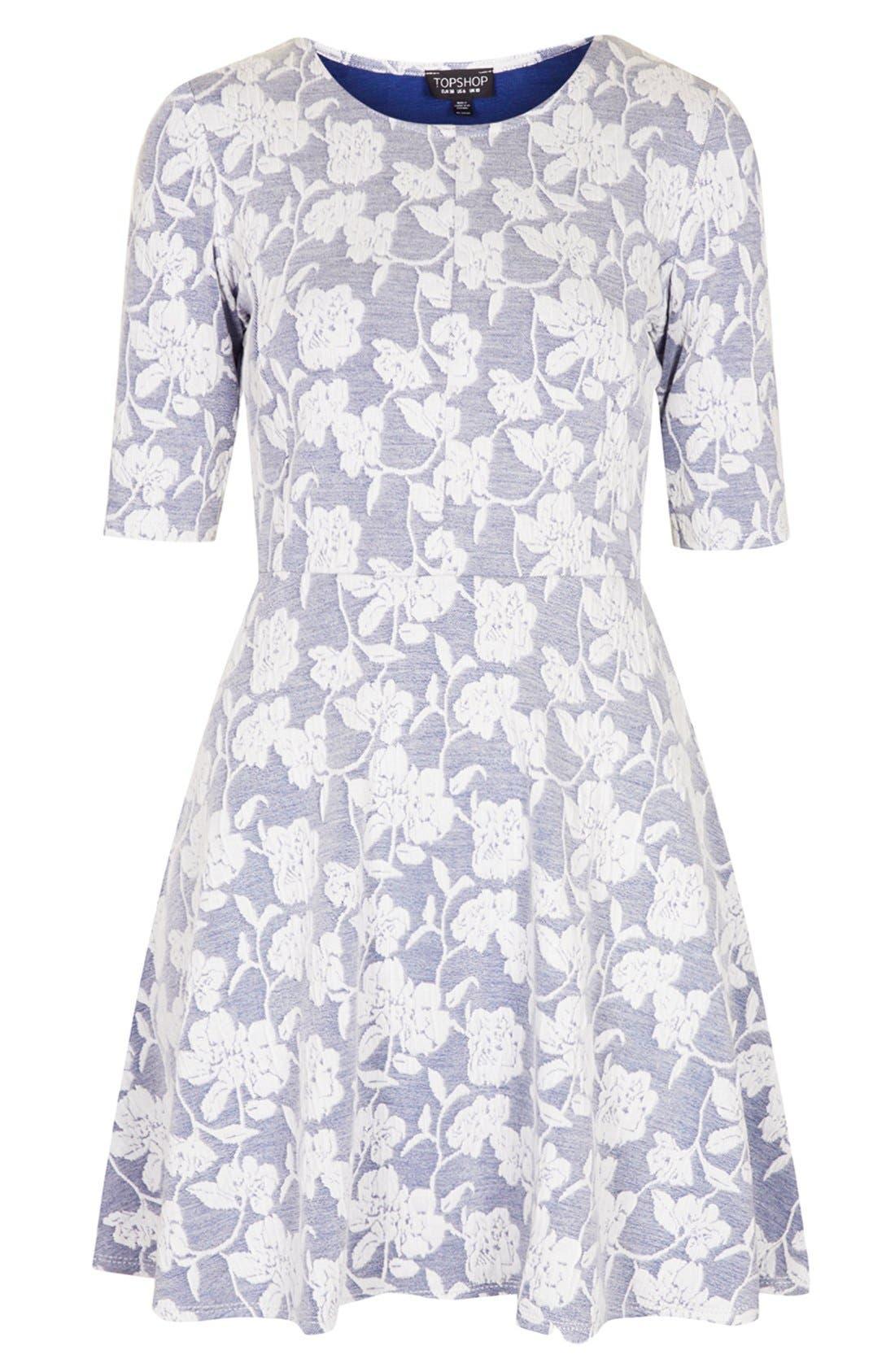 Alternate Image 3  - Topshop Floral Jacquard Skater Dress