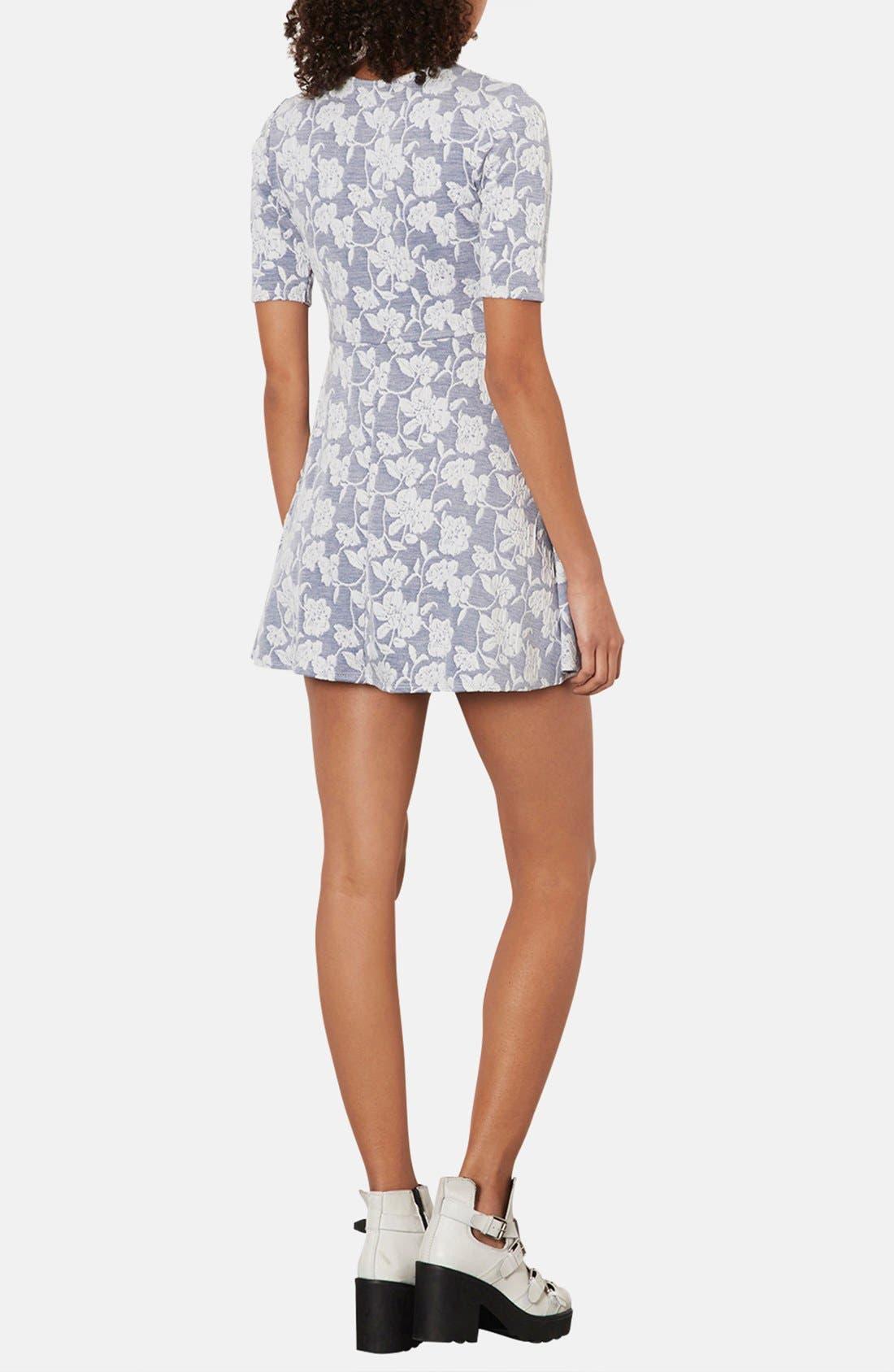 Alternate Image 2  - Topshop Floral Jacquard Skater Dress