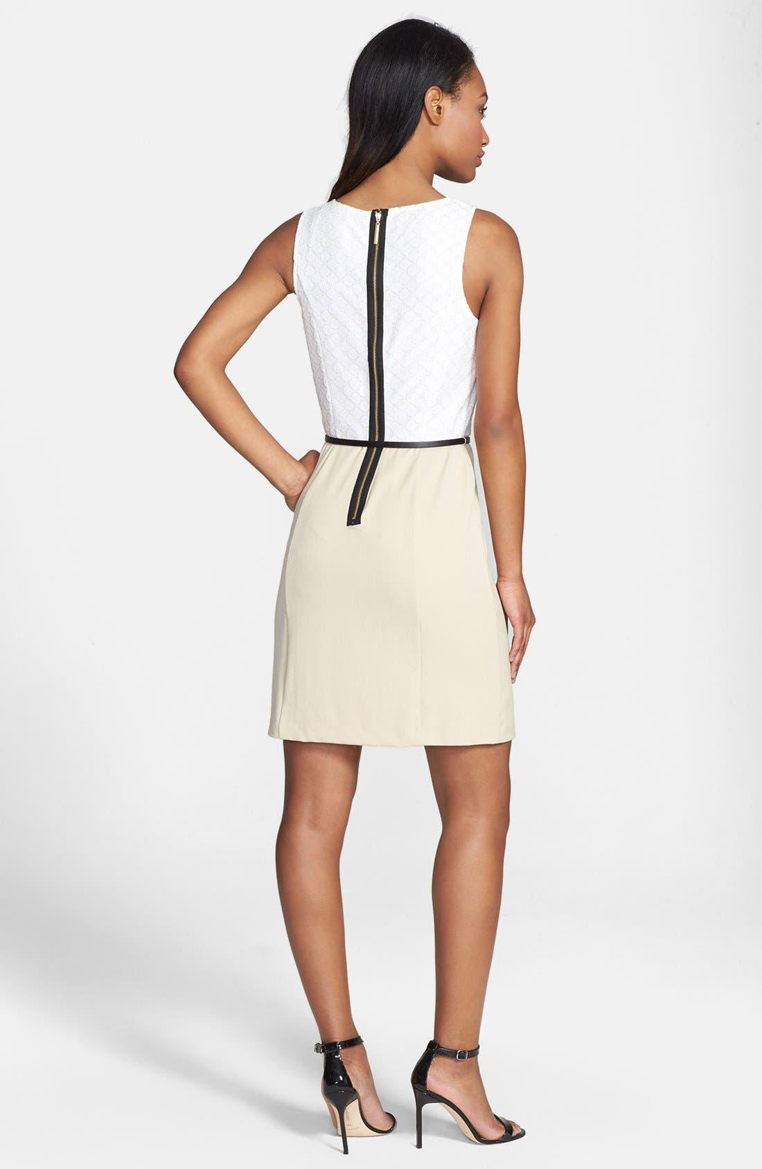 Alternate Image 2  - kensie Dot Lace & Solid Dress