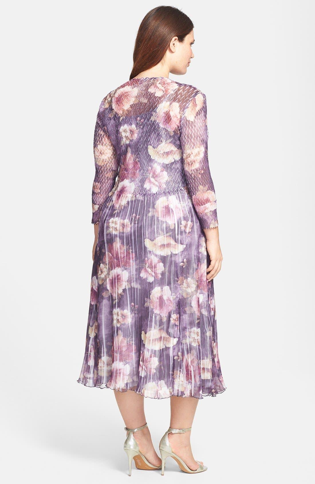 Alternate Image 2  - Komarov Floral Print Charmeuse Dress (Plus Size)