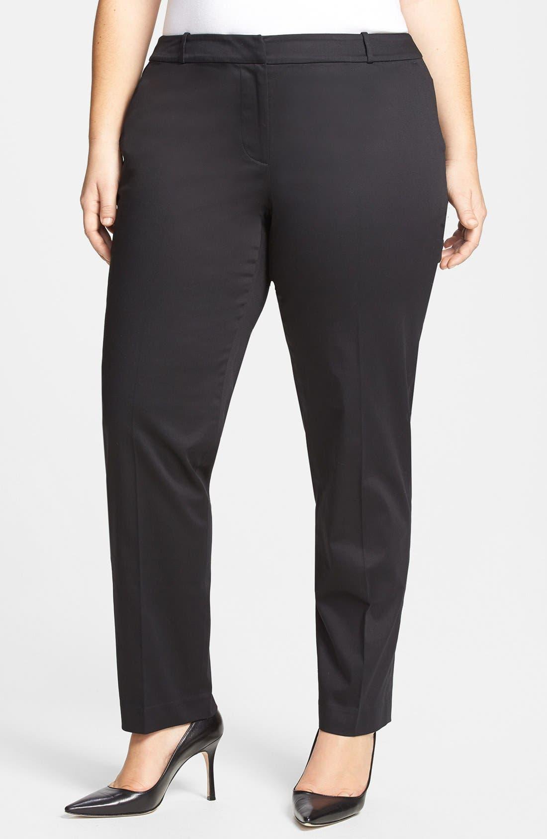 Alternate Image 1 Selected - MICHAEL Michael Kors 'Welles' Stretch Cotton Sateen Ankle Pants (Plus Size)