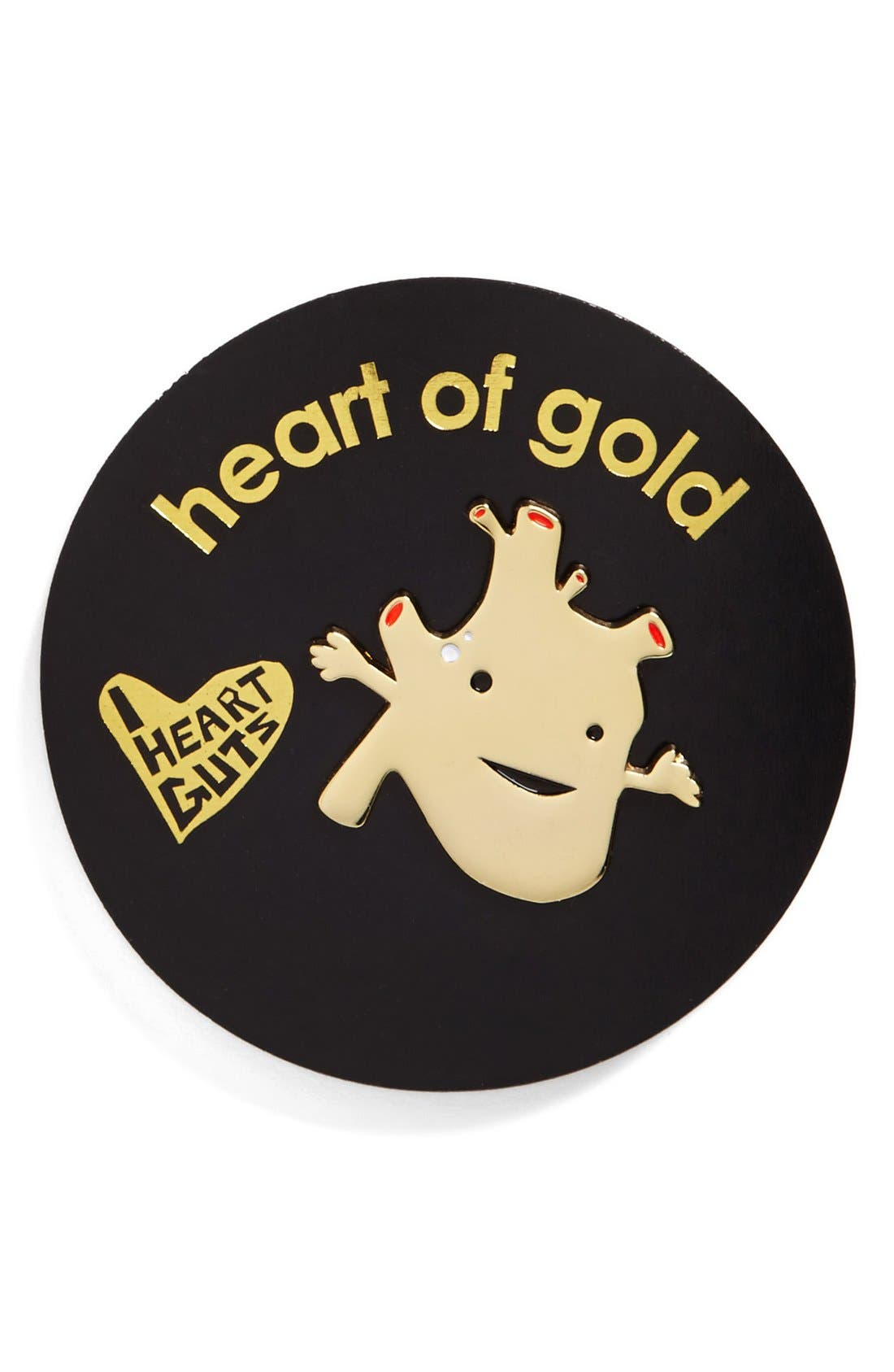 Alternate Image 2  - I Heart Guts 'Heart of Gold' Heart Lapel Pin