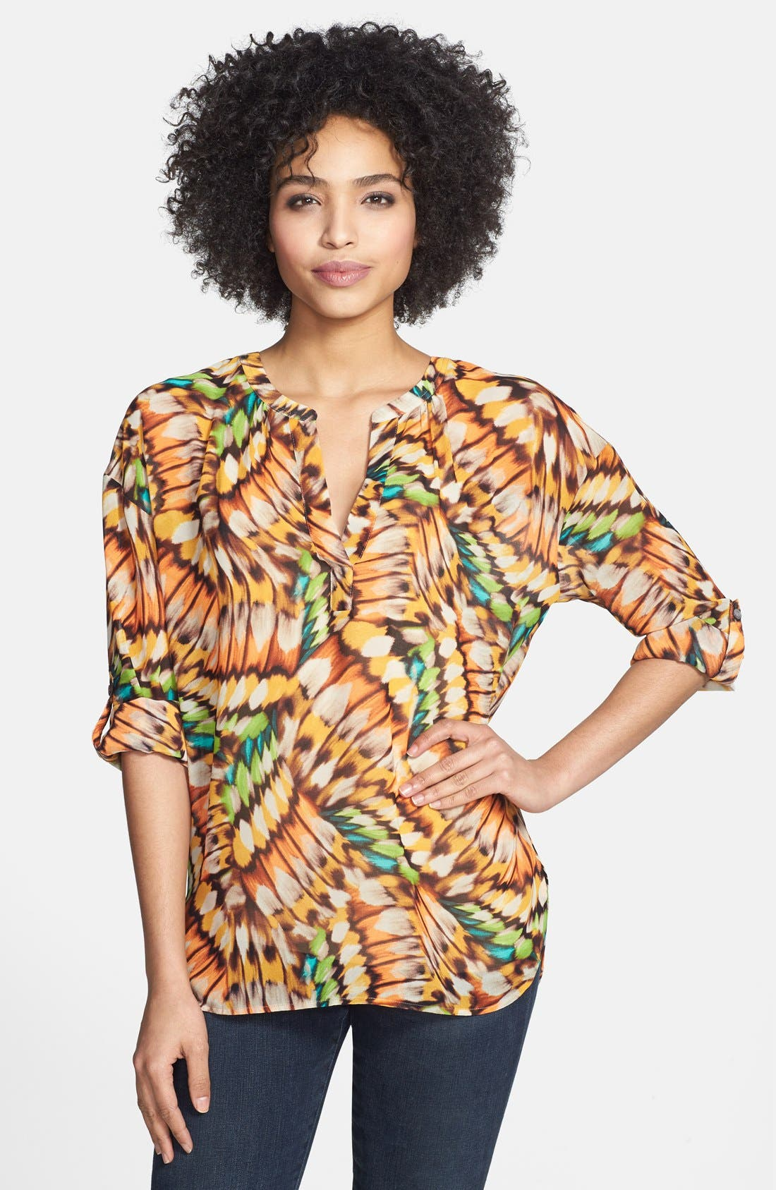 Alternate Image 1 Selected - Two by Vince Camuto Butterfly Wing Print Blouse
