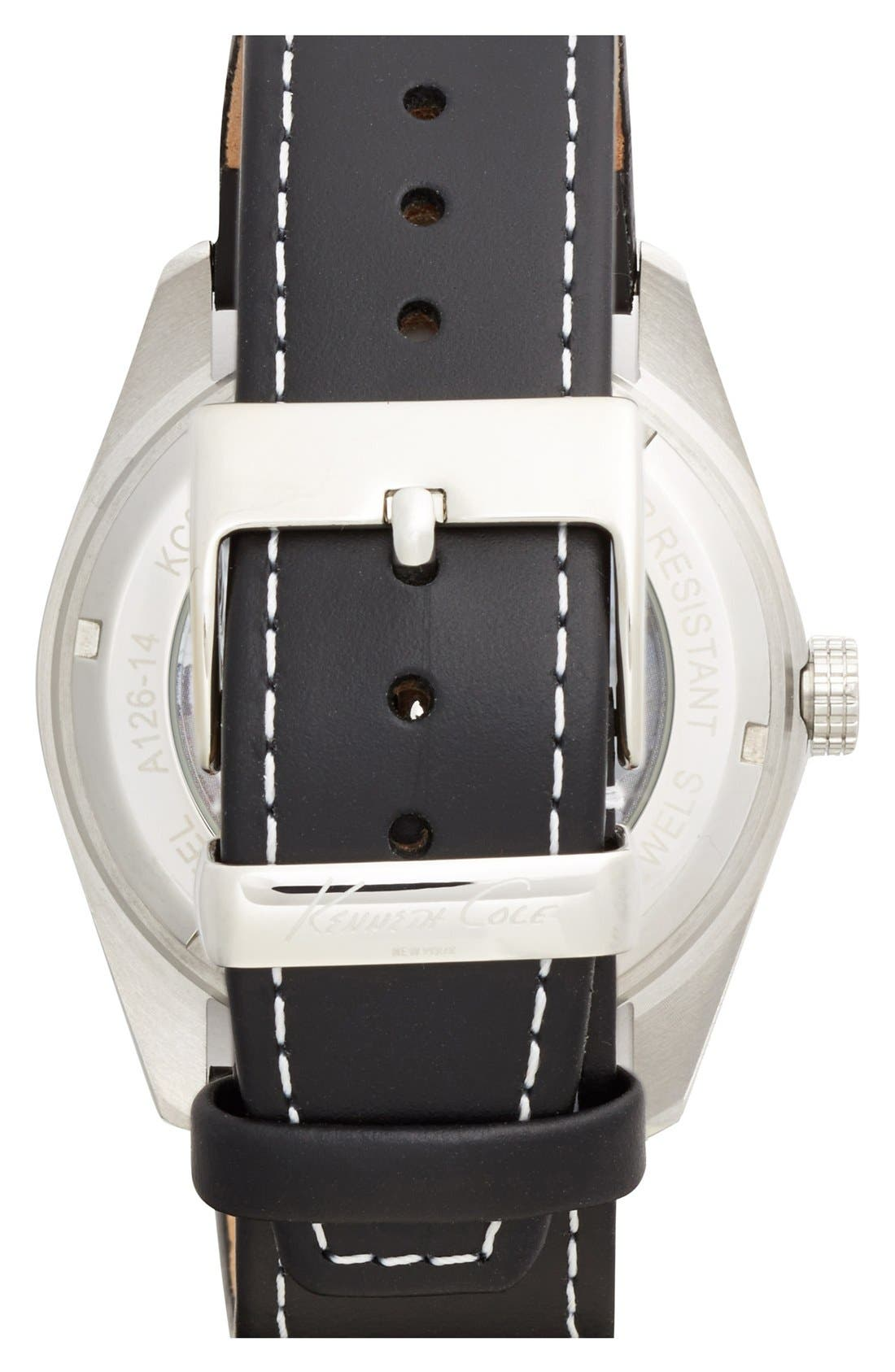 Alternate Image 2  - Kenneth Cole New York Skeleton Automatic Leather Strap Watch, 44mm
