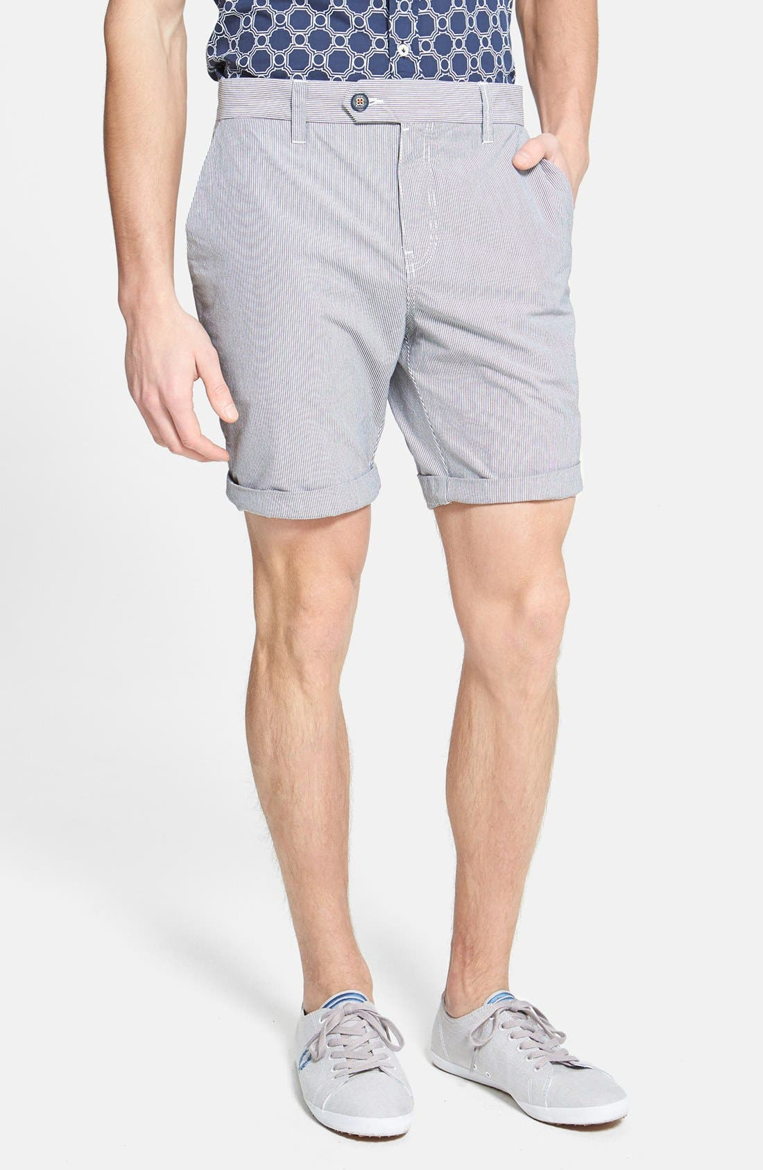 Alternate Image 1 Selected - Ted Baker London 'Staddle' Slim Fit Stripe Shorts