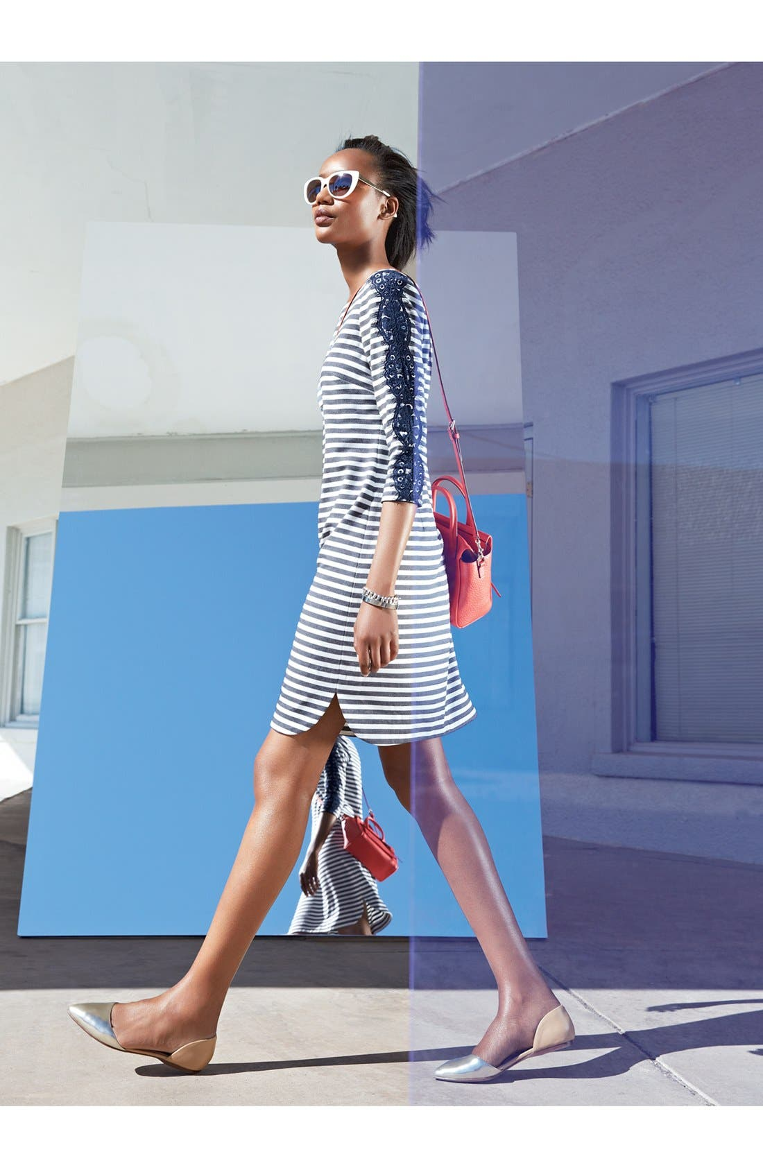 Alternate Image 4  - Eliza J Stripe & Lace Ponte Knit Shift Dress (Plus Size)
