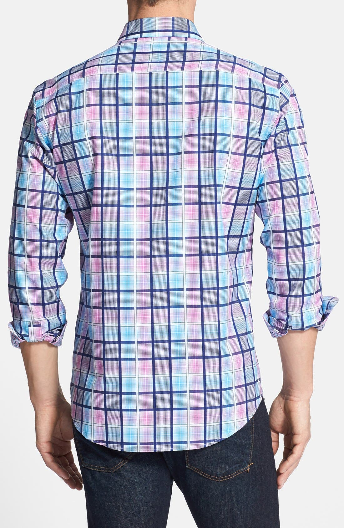 Alternate Image 3  - Bugatchi Shaped Fit Checked Sport Shirt