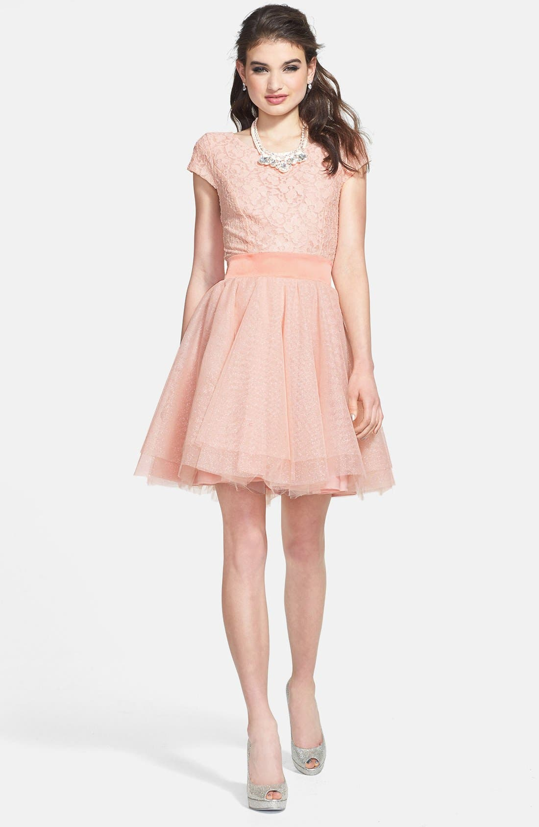 Alternate Image 1 Selected - Trixxi Lace Bodice Tulle Fit & Flare Dress (Juniors)