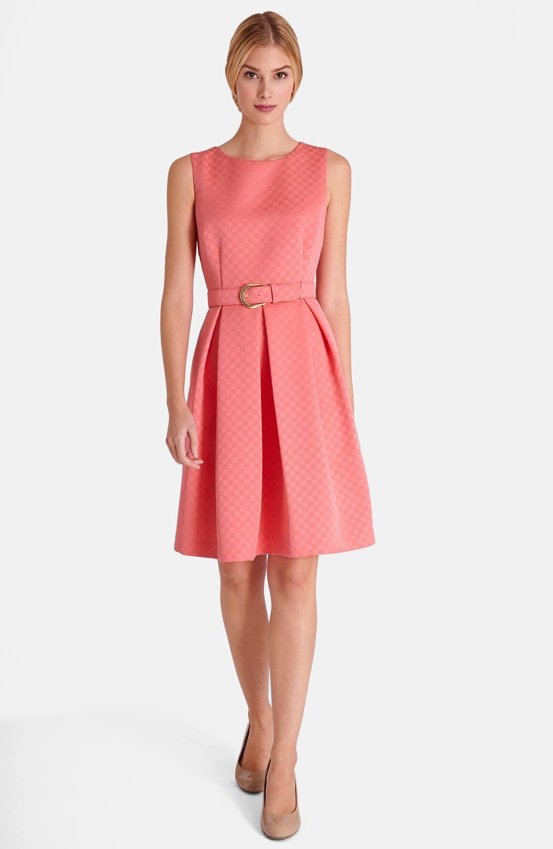 Alternate Image 1 Selected - Tahari Jacquard Fit & Flare Dress (Petite)