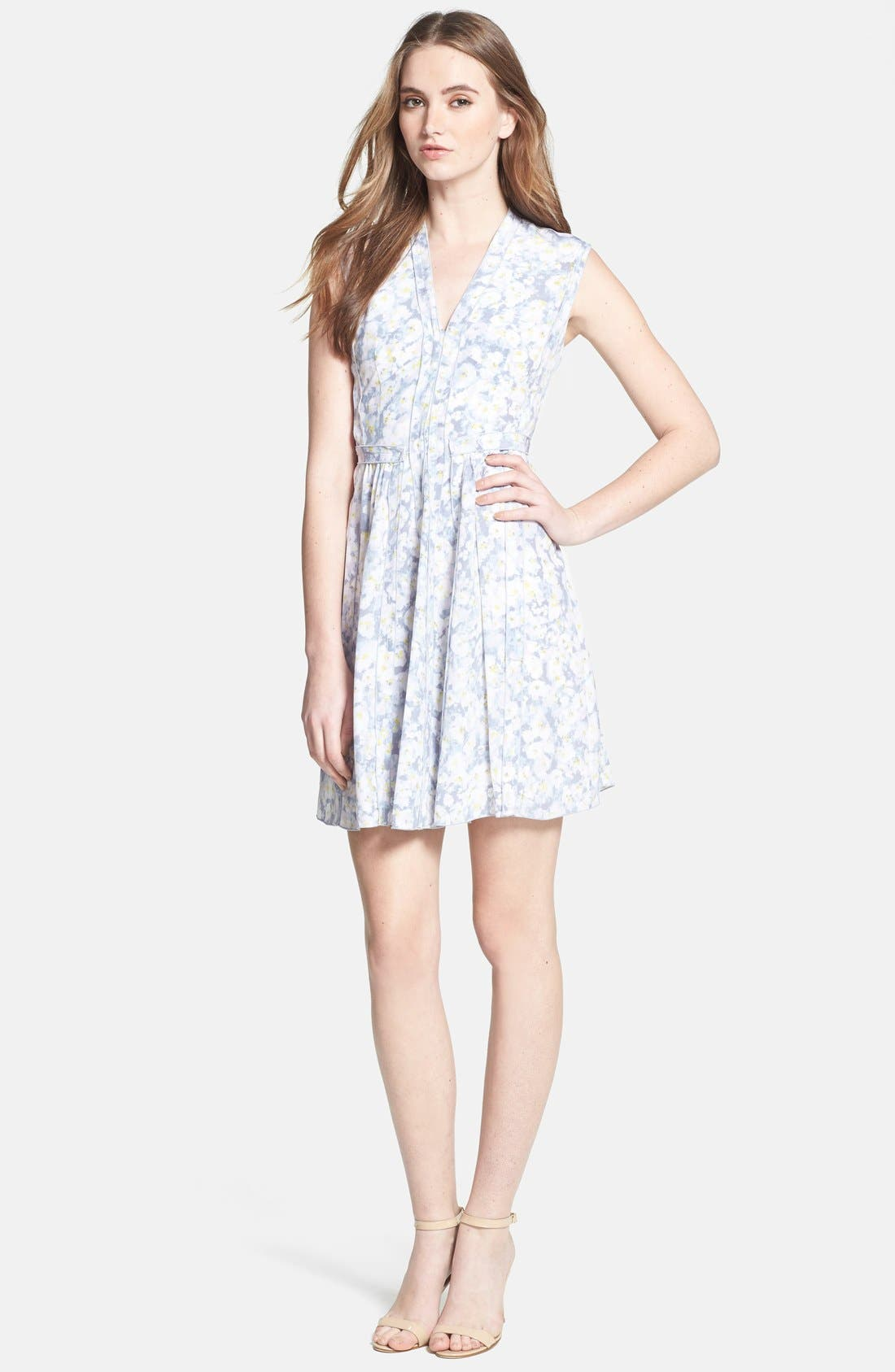 Alternate Image 1 Selected - Rebecca Taylor Pleat Front Floral Silk Dress
