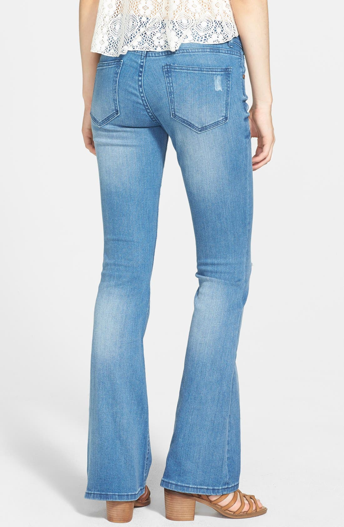 Alternate Image 2  - Fire Destroyed Flared Jeans (Medium) (Juniors)