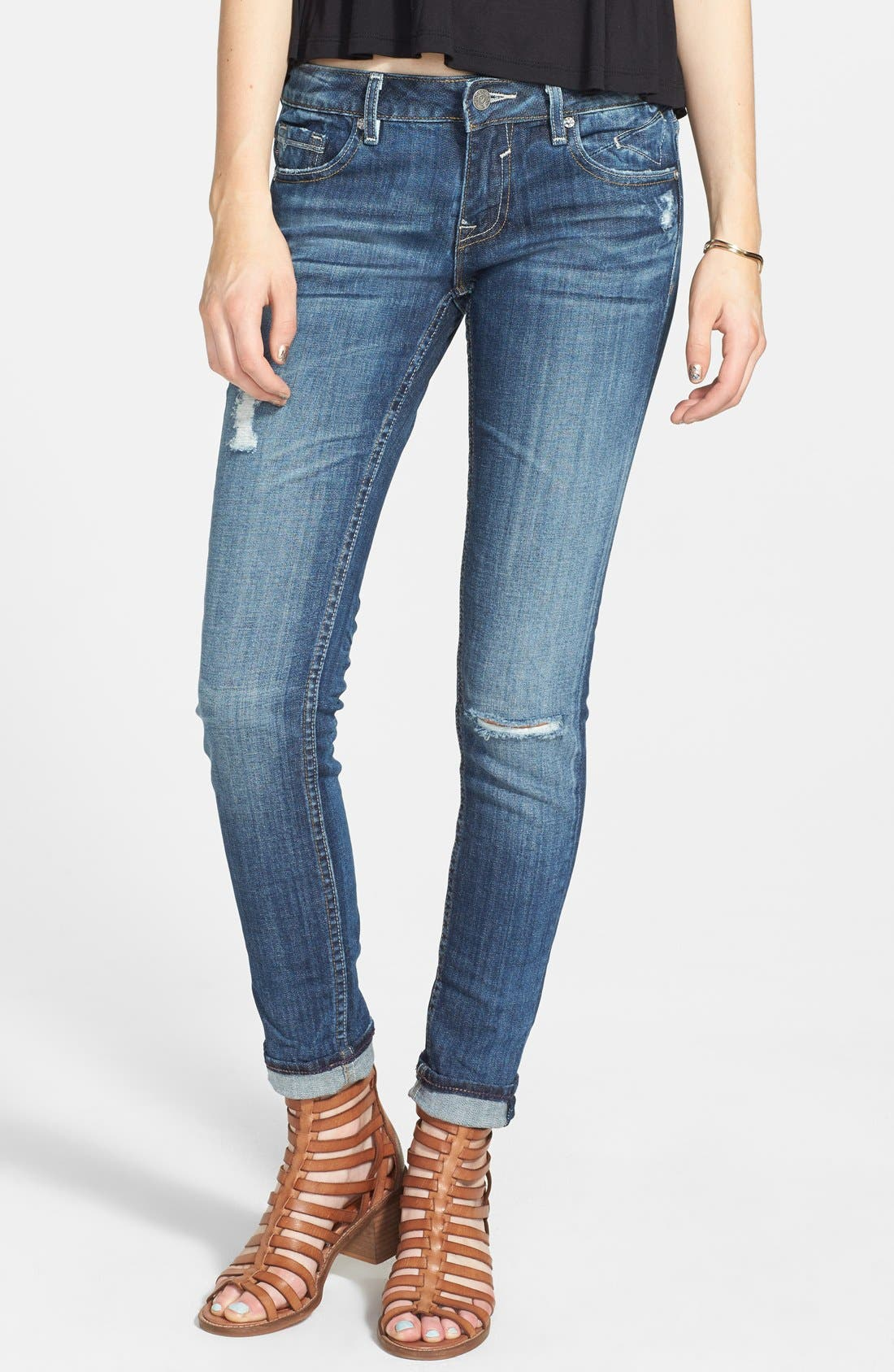 Main Image - Vigoss Destroyed Crop Skinny Boyfriend Jeans (Dark) (Juniors)