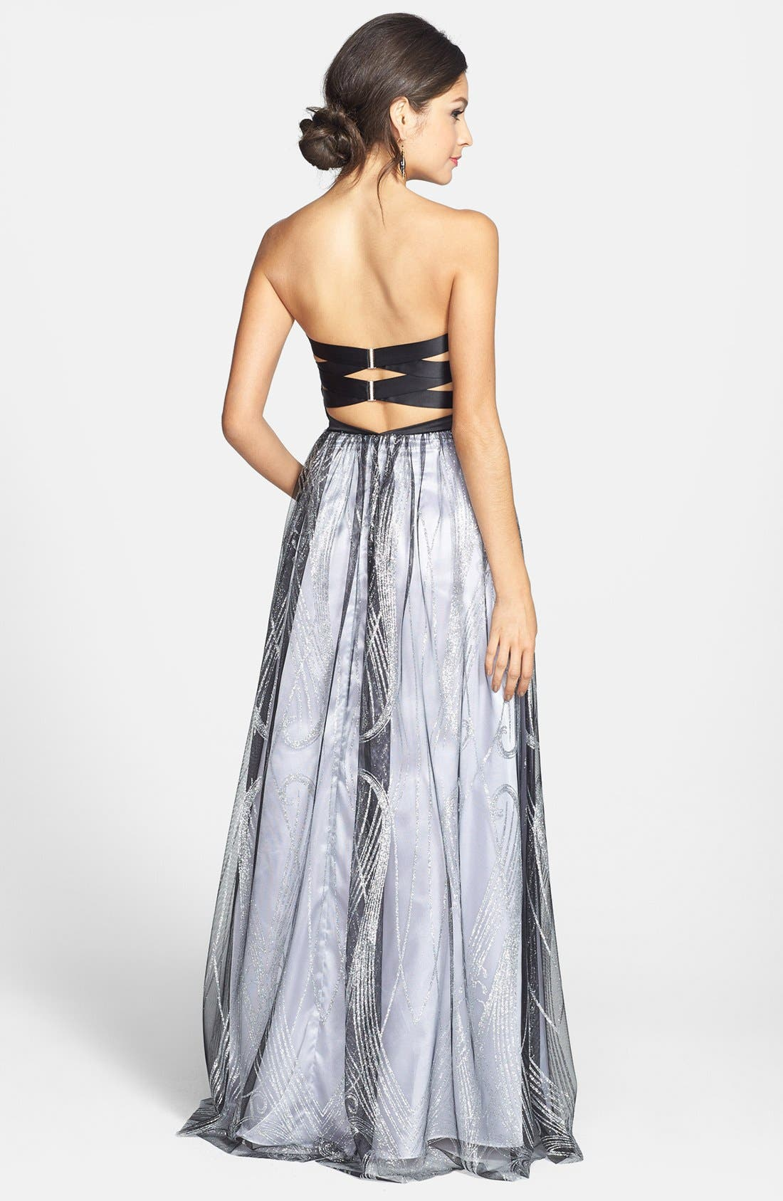 Alternate Image 2  - Hailey Logan Satin & Glitter Mesh Gown (Juniors) (Online Only)