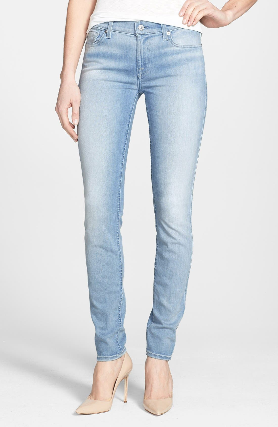 Alternate Image 1 Selected - 7 For All Mankind® 'The Skinny' Mid Rise Jeans (Sky Blue)