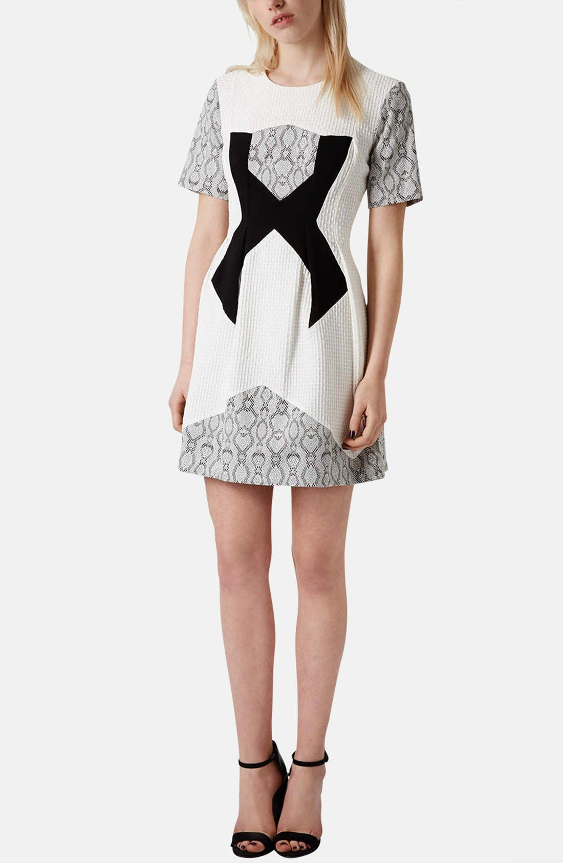 Alternate Image 5  - Topshop Mixed Media Fit & Flare Dress