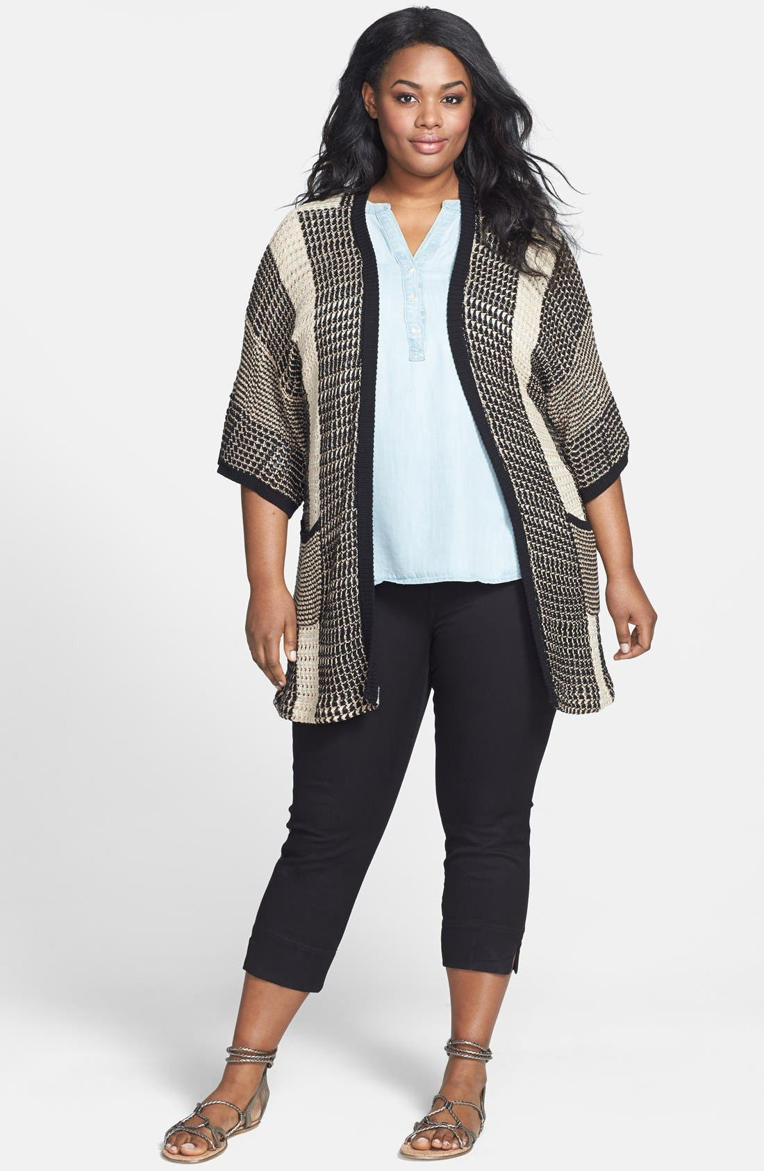 Alternate Image 4  - Lucky Brand Chambray Top (Plus Size)