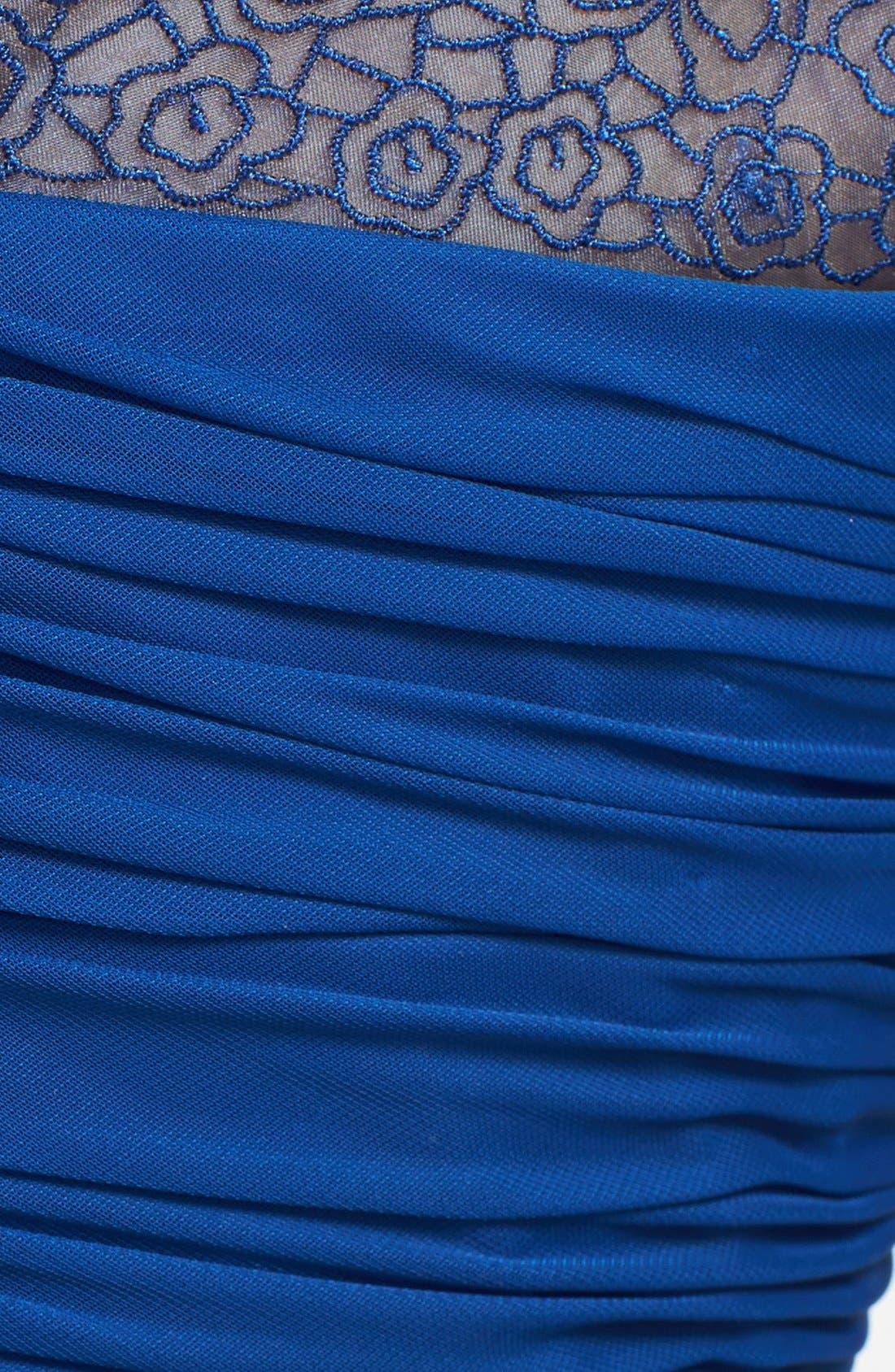 Alternate Image 3  - Alex Evenings Ruched Cap Sleeve Tea Length Dress
