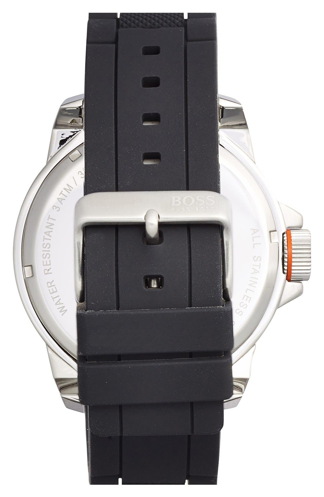 Alternate Image 2  - BOSS Orange Multifunction Silicone Strap Watch, 50mm