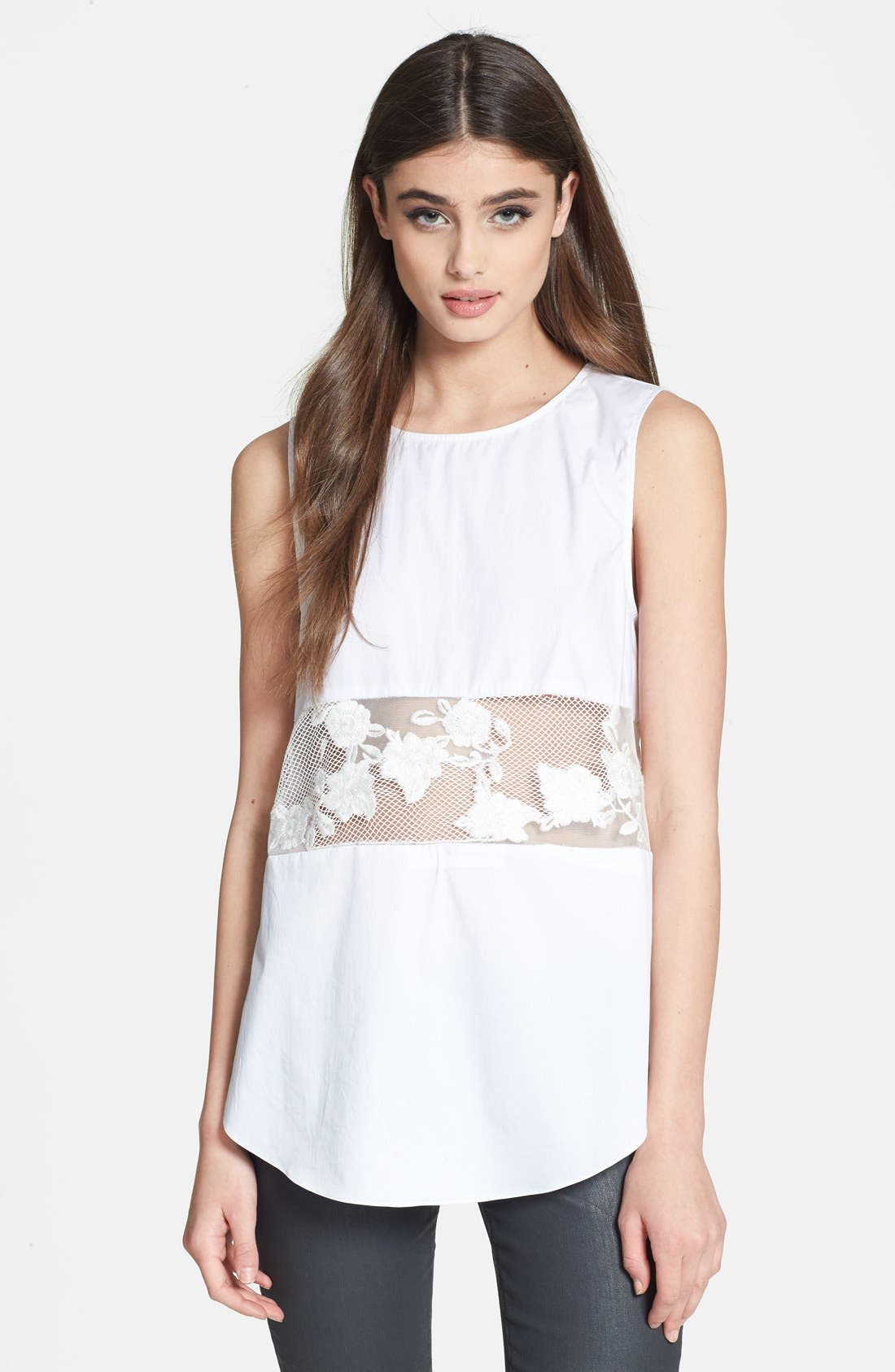 Main Image - 1.STATE Sheer Inset Cotton Top