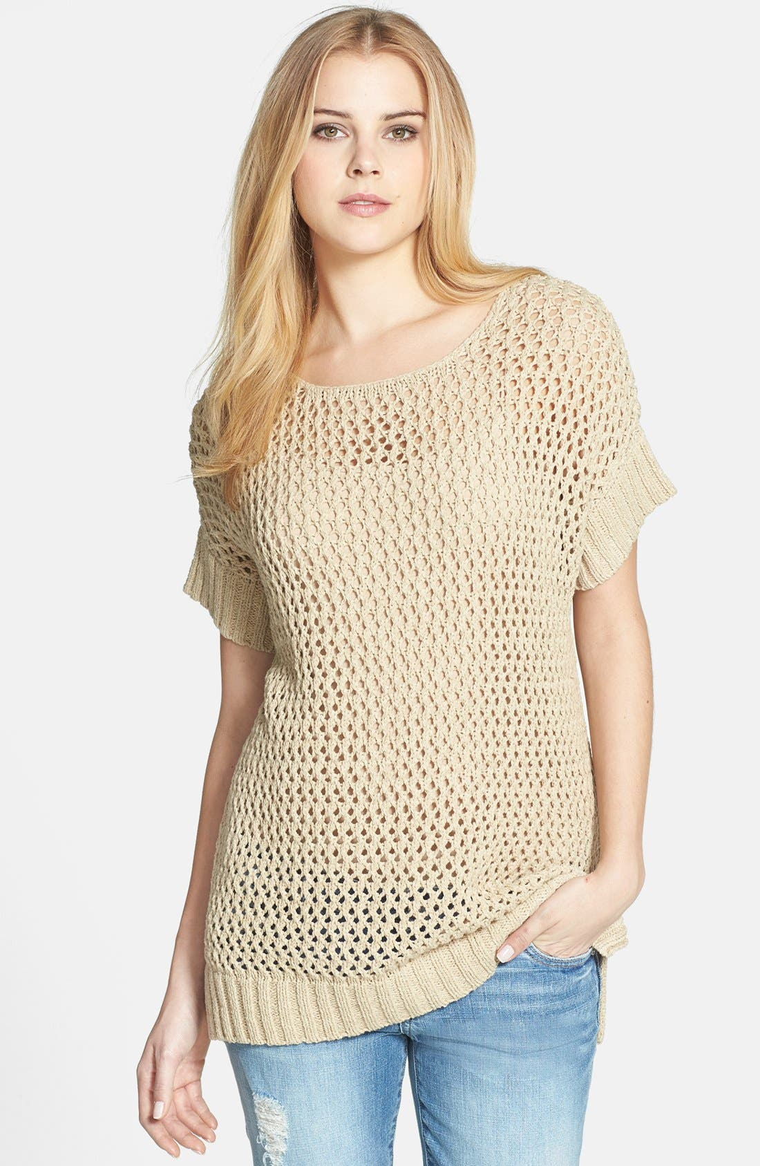Alternate Image 1 Selected - Vince Camuto Open Stitch Cotton Blend Sweater