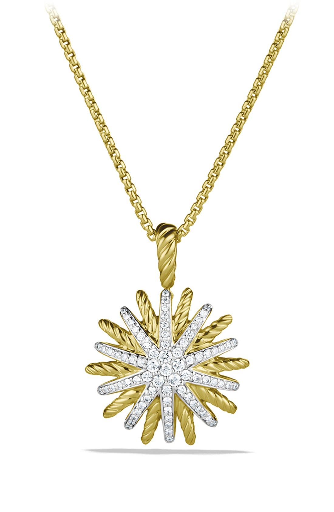 David Yurman 'Starburst' Small Pendant with Diamonds in Gold on Chain