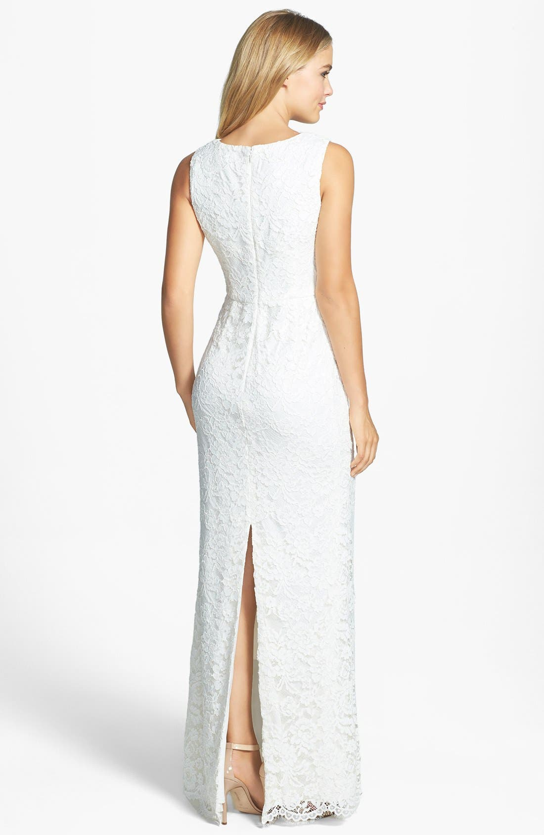 Alternate Image 2  - Adrianna Papell Sleeveless Lace Gown