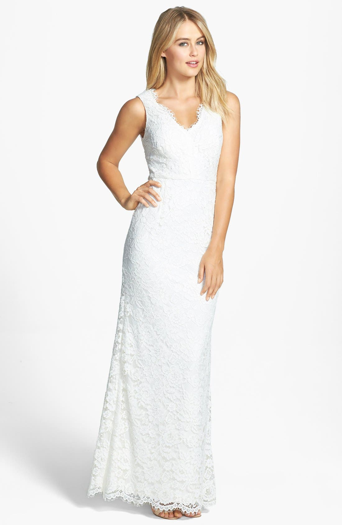 Main Image - Adrianna Papell Sleeveless Lace Gown