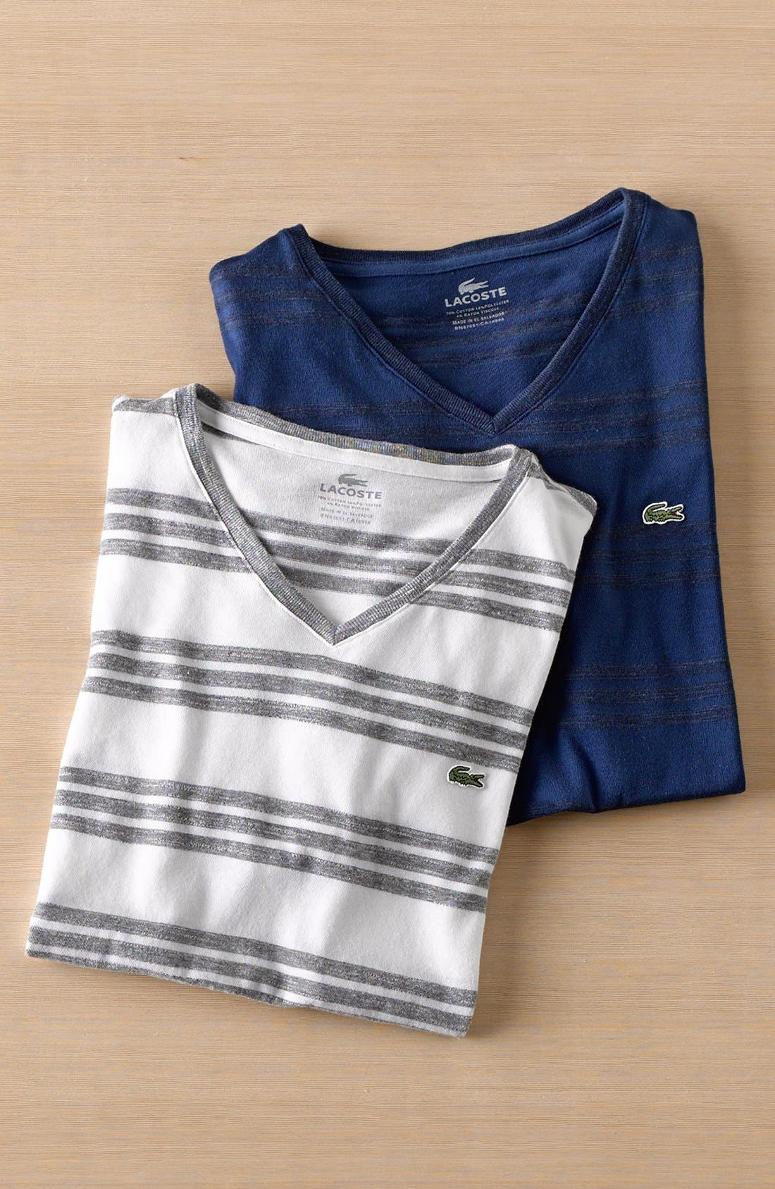 Alternate Image 4  - Lacoste Jaspe Stripe Jersey V-Neck T-Shirt