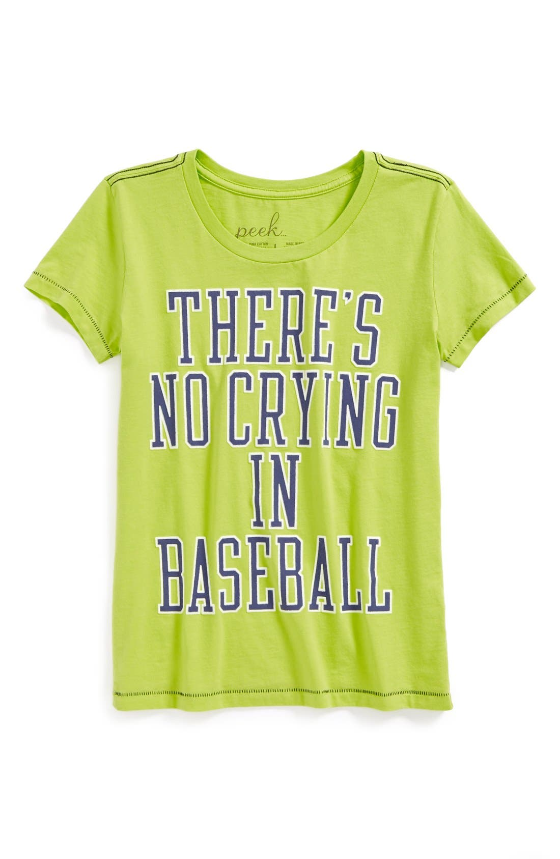 Alternate Image 1 Selected - Peek 'There's No Crying In Baseball' Pima Cotton Tee (Big Girls)