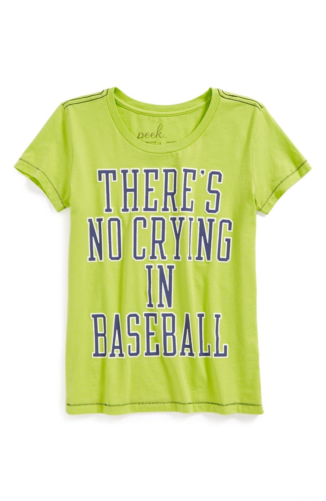 Main Image - Peek 'There's No Crying In Baseball' Pima Cotton Tee (Big Girls)