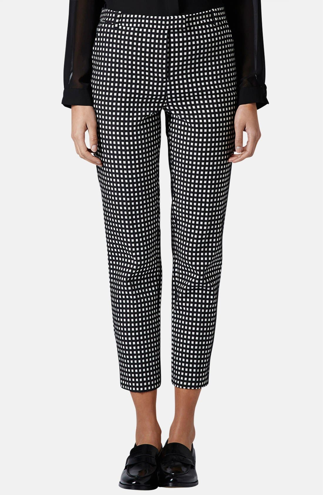 Alternate Image 1 Selected - Topshop Gingham Print Cigarette Pants