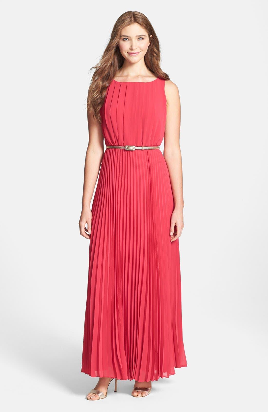 Alternate Image 1 Selected - Eliza J Pleated Chiffon Maxi Dress (Regular & Petite)
