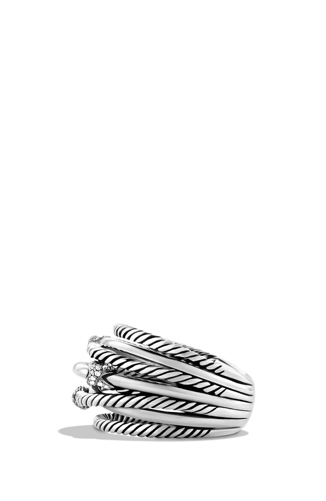 Alternate Image 4  - David Yurman 'Three X Crossover' Ring with Diamonds