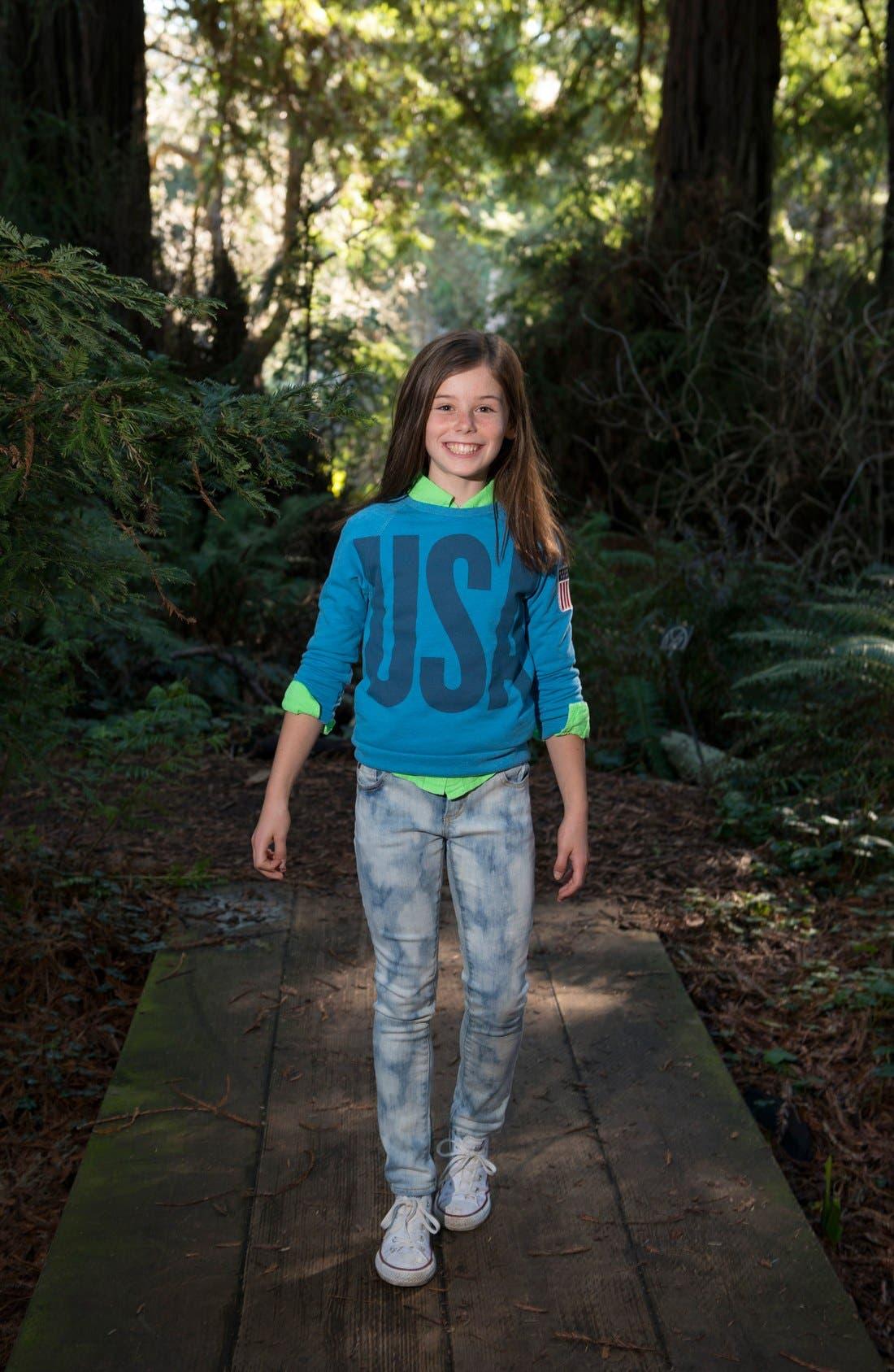 Alternate Image 2  - Peek 'USA' Crewneck Sweatshirt (Toddler Girls, Little Girls & Big Girls)