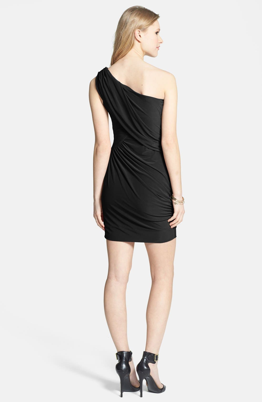 Alternate Image 2  - Soprano One Shoulder Draped Dress (Juniors)