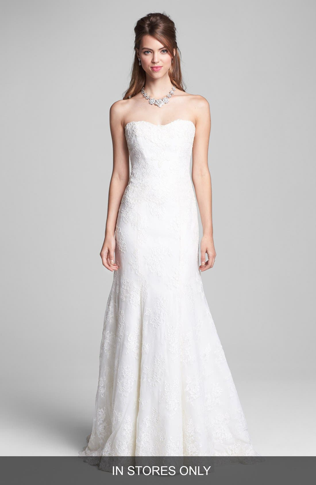 Alternate Image 1 Selected - BLISS Monique Lhuillier Embroidered Lace Trumpet Dress (In Stores Only)