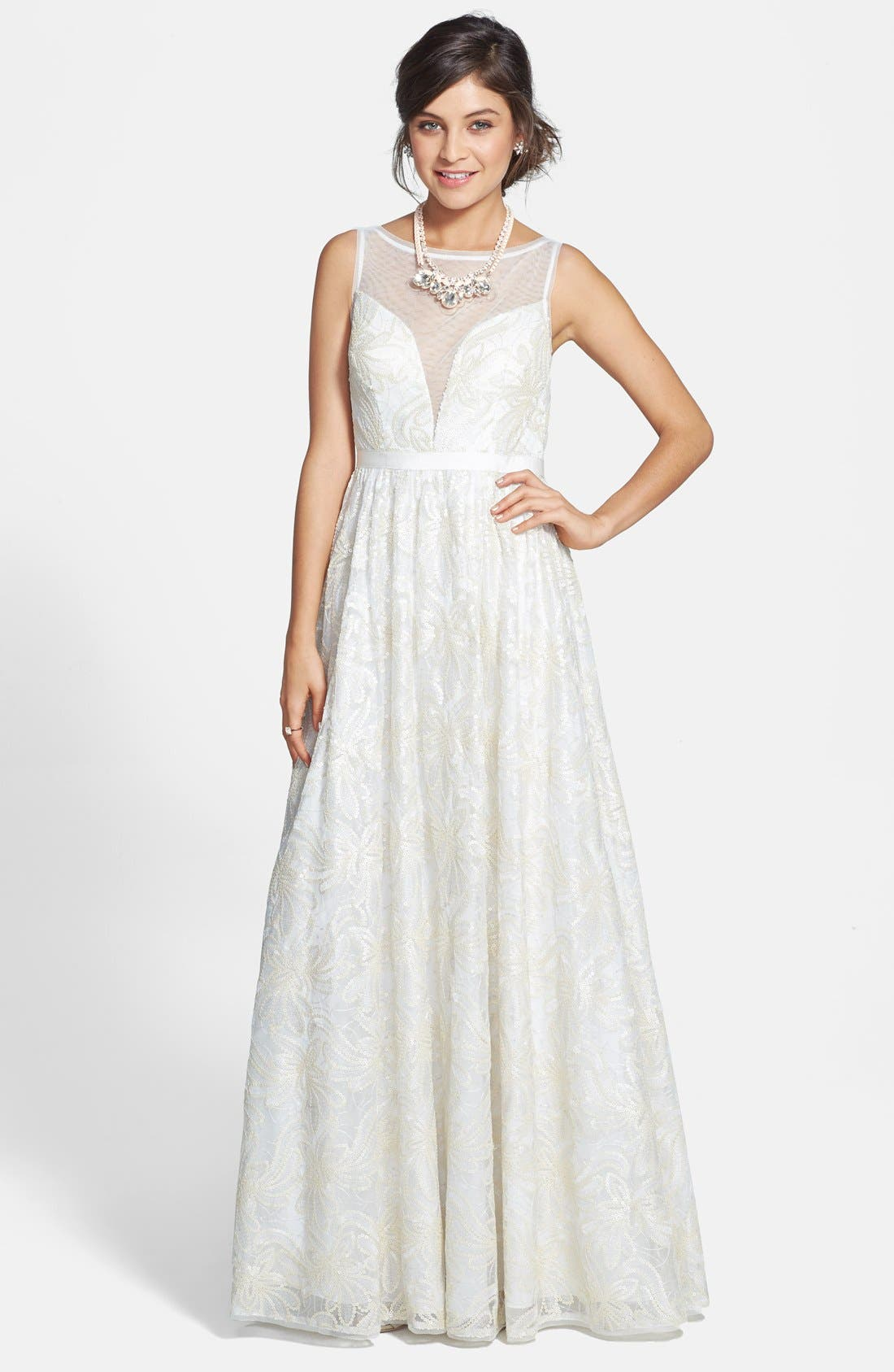 Main Image - Adrianna Papell Faux Leather Sequin Lace Gown