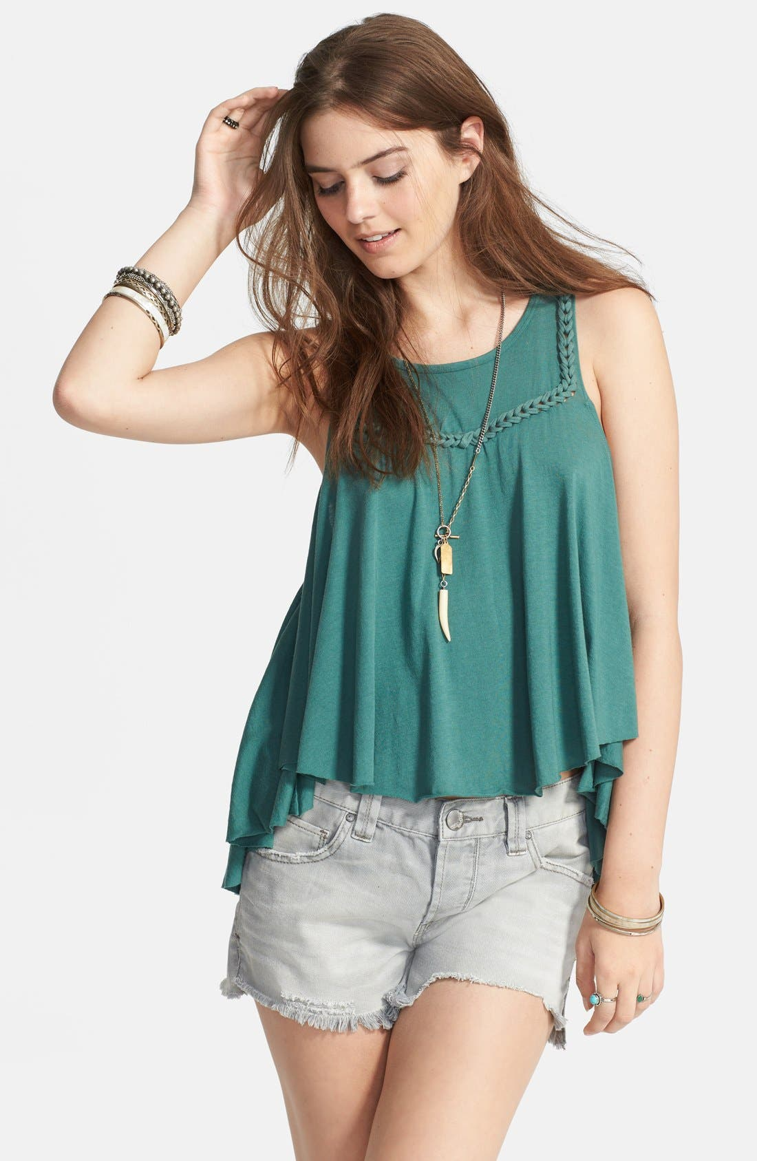 Alternate Image 1 Selected - Free People 'Free Falling' Braided Trim Ruffle Tank