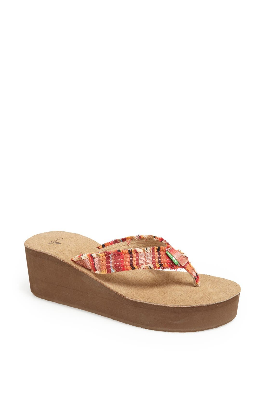 Main Image - Sanuk 'Fraidy Cat' Wedge Flip Flop