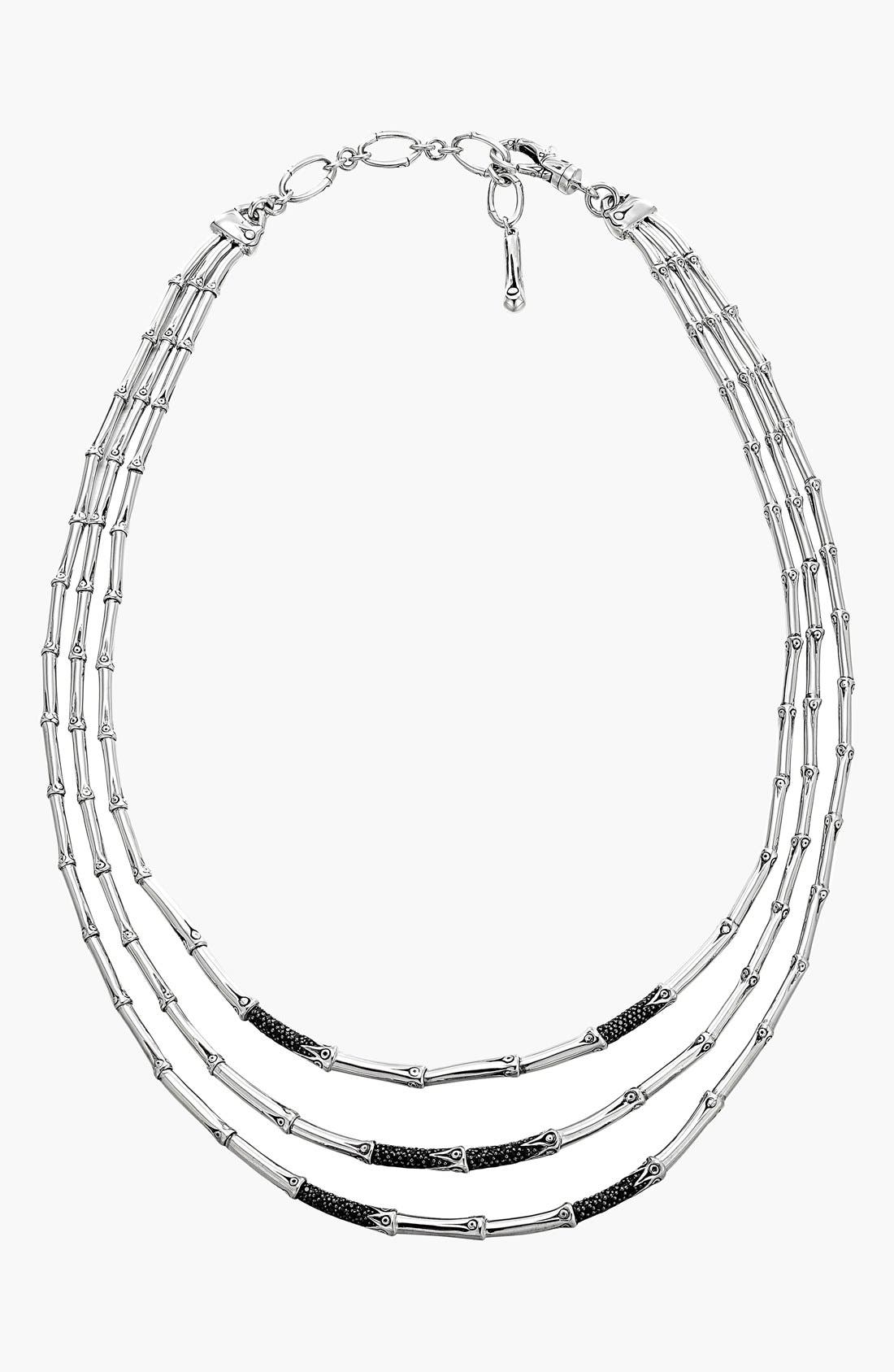 Alternate Image 1 Selected - John Hardy 'Bamboo - Lava' Pavé Sapphire Three-Row Necklace