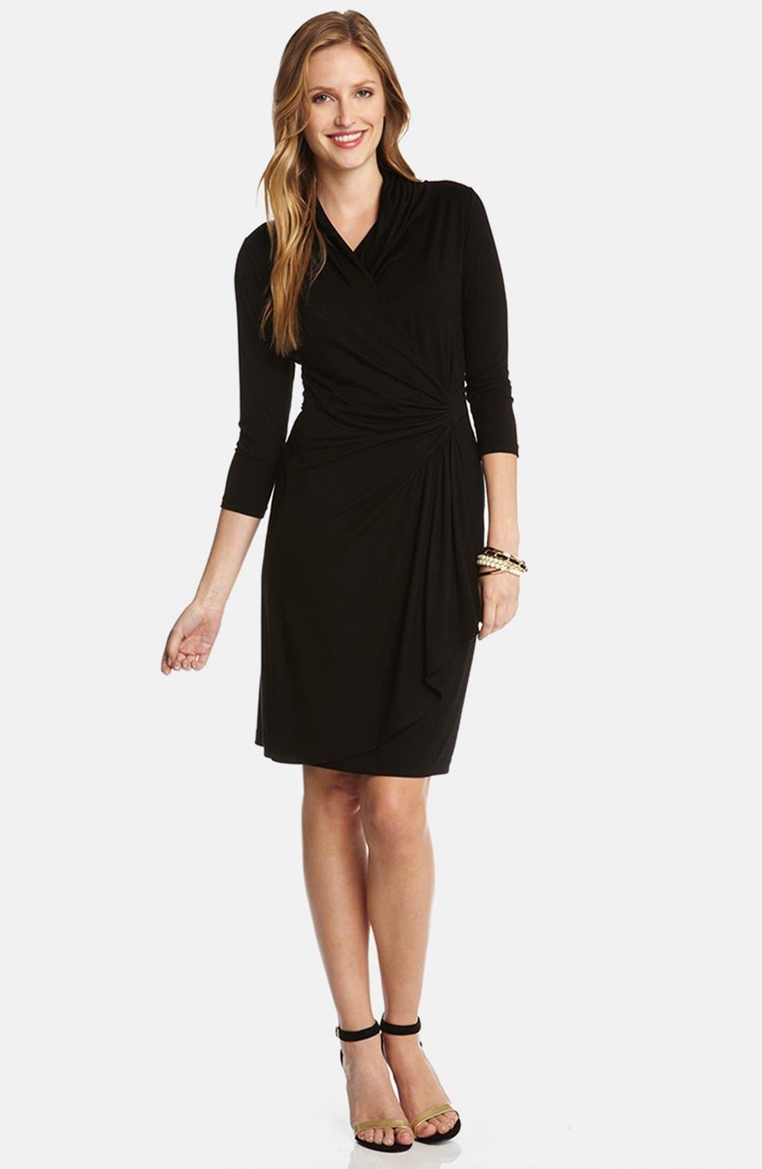 Alternate Image 3  - Karen Kane Cascade Faux Wrap Dress (Regular & Petite)