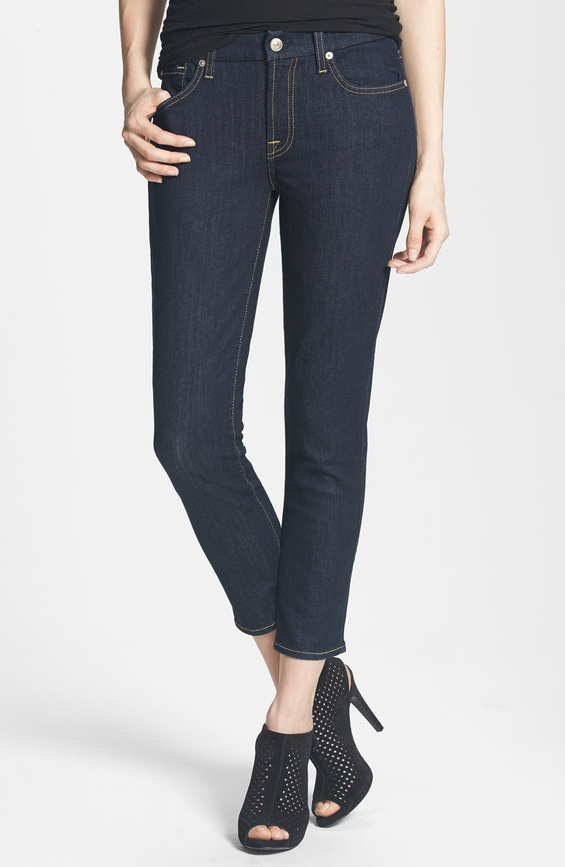 Main Image - 7 For All Mankind® 'Kimmie' Crop Skinny Jeans (Ink)