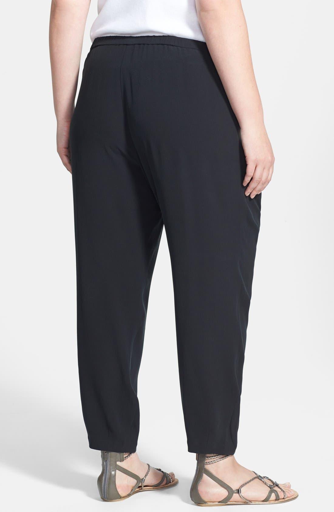Alternate Image 2  - Eileen Fisher Pleated Silk Crop Pants (Plus Size)